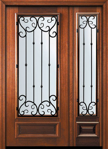 WDMA 46x80 Door (3ft10in by 6ft8in) Exterior Mahogany 80in 3/4 Lite Valencia Door /1side 1