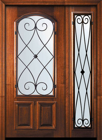 WDMA 46x80 Door (3ft10in by 6ft8in) Exterior Mahogany 80in Arch Lite Charleston Door /1side 1