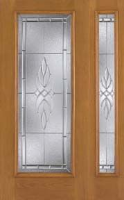 WDMA 46x80 Door (3ft10in by 6ft8in) Exterior Oak Fiberglass Impact Door Full Lite Kensington 6ft8in 1 Sidelight 1