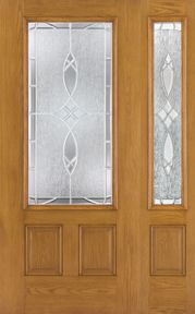 WDMA 46x80 Door (3ft10in by 6ft8in) Exterior Oak Fiberglass Door 3/4 Lite Blackstone 6ft8in 1 Sidelight 1