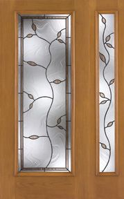 WDMA 46x80 Door (3ft10in by 6ft8in) Exterior Oak Fiberglass Impact Door Full Lite Avonlea 6ft8in 1 Sidelight 1
