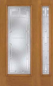 WDMA 46x80 Door (3ft10in by 6ft8in) Exterior Oak Fiberglass Impact Door Full Lite Maple Park 6ft8in 1 Sidelight 1