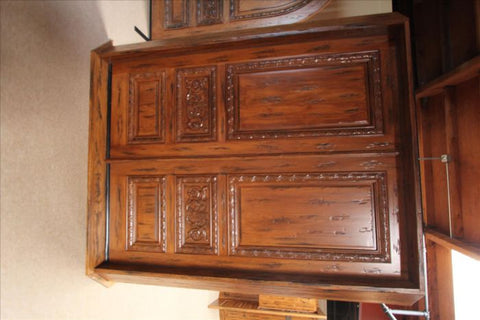 WDMA 48x120 Door (4ft by 10ft) Exterior Mahogany Tuscany Style Hand Carved Single Door scroll motif 7
