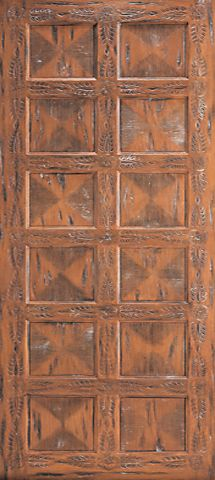 WDMA 48x120 Door (4ft by 10ft) Exterior Mahogany Hand Carved Single Door Sante Fe Style in Solid  1