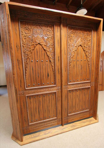 WDMA 48x120 Door (4ft by 10ft) Exterior Mahogany Moroccan Style Hand Carved Single Door 4