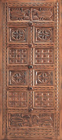 WDMA 48x120 Door (4ft by 10ft) Exterior Mahogany Indian Style Hand Carved Single Door 1