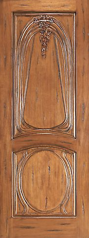 WDMA 48x120 Door (4ft by 10ft) Exterior Mahogany AN-2013-1 Hand Carved 2-Panel Art Nouveau Single Door 1