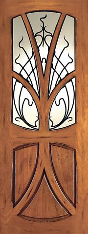WDMA 48x120 Door (4ft by 10ft) Exterior Mahogany AN-2007-1 Tree Lite Hand Carved Art Nouveau Single Door Forged Iron 1