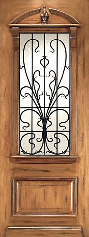 WDMA 48x120 Door (4ft by 10ft) Exterior Mahogany AN-2009-1 Hand Carved Art Nouveau Forged Iron Glass Single Door 1