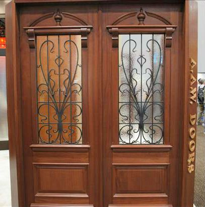 WDMA 48x120 Door (4ft by 10ft) Exterior Mahogany AN-2009-1 Hand Carved Art Nouveau Forged Iron Glass Single Door 8