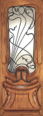 WDMA 48x120 Door (4ft by 10ft) Exterior Mahogany AN-2014-1 Hand Carved Art Nouveau Forged Iron Glass Single Door 1