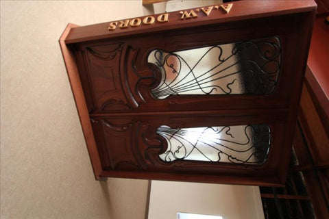WDMA 48x120 Door (4ft by 10ft) Exterior Mahogany AN-2014-1 Hand Carved Art Nouveau Forged Iron Glass Single Door 4