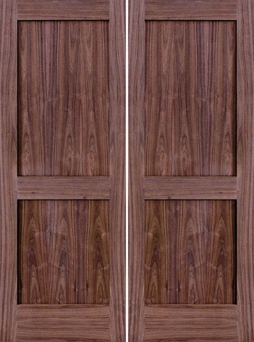 WDMA 48x80 Door (4ft by 6ft8in) Interior Walnut 80in 2 Panel Square Sticking Compression Fit Double Door 1