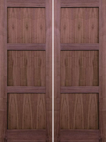 WDMA 48x80 Door (4ft by 6ft8in) Interior Walnut 80in 3 Panel Square Sticking Compression Fit Double Door 1