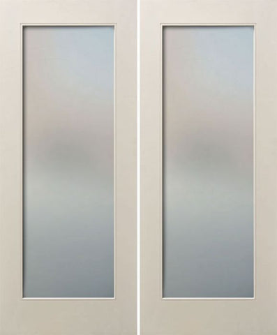WDMA 48x80 Door (4ft by 6ft8in) Interior Paint grade 80in White Primed Full Lite Square Sticking w/Reveal Double Door 1