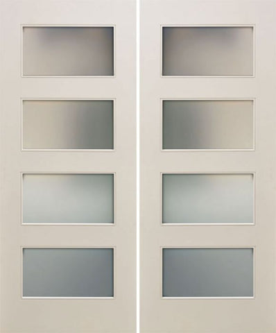 WDMA 48x80 Door (4ft by 6ft8in) Interior Paint grade 80in White Primed Four Lite Square Sticking w/Reveal Double Door 1