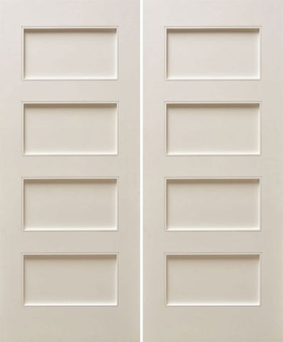 WDMA 48x80 Door (4ft by 6ft8in) Interior Paint grade 80in White Primed Four Flat Panels Square Sticking w/Reveal Double Door 1