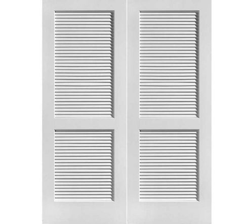 WDMA 48x80 Door (4ft by 6ft8in) Interior Swing Pine 80in Louver/Louver Primed Double Door 1