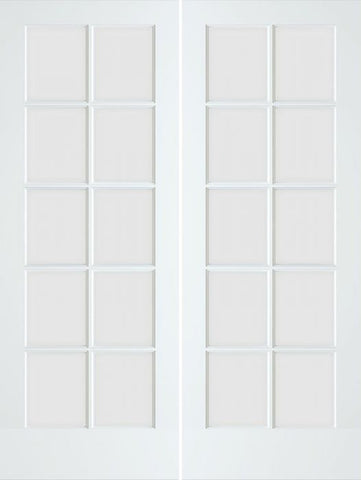 WDMA 48x80 Door (4ft by 6ft8in) Interior Swing Smooth 80in Primed 10 Lite French Double Door Clear Glass 1