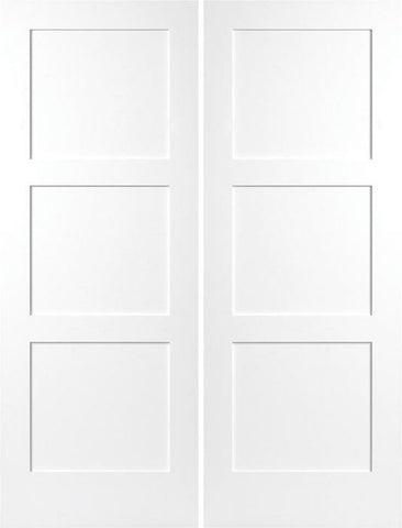 WDMA 48x80 Door (4ft by 6ft8in) Interior Swing Smooth 80in Birkdale 3 Panel Shaker Solid Core Double Door|1-3/4in Thick 1
