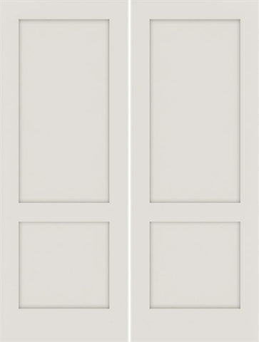 WDMA 48x80 Door (4ft by 6ft8in) Interior Swing Smooth 80in Primed 2 Panel Shaker Double Door|1-3/8in Thick 1