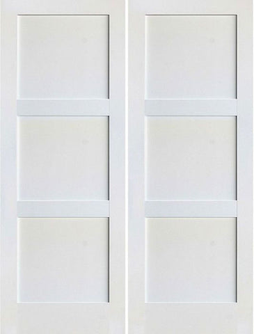 WDMA 48x80 Door (4ft by 6ft8in) Interior Swing Smooth 80in 3 Panel Primed Shaker 1-3/8in Double Door 1