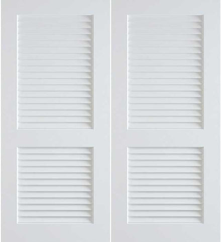 WDMA 48x80 Door (4ft by 6ft8in) Interior Barn Pine 80in Primed False Plantation Louvers Double Doors | 730 1