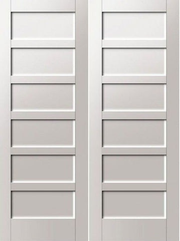 WDMA 48x80 Door (4ft by 6ft8in) Interior Swing Pine 96in Primed 6 Panel Shaker Double Door | 4112 1
