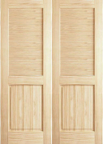WDMA 48x80 Door (4ft by 6ft8in) Interior Swing Pine 80in Louver/Panel Clear Double Door 1
