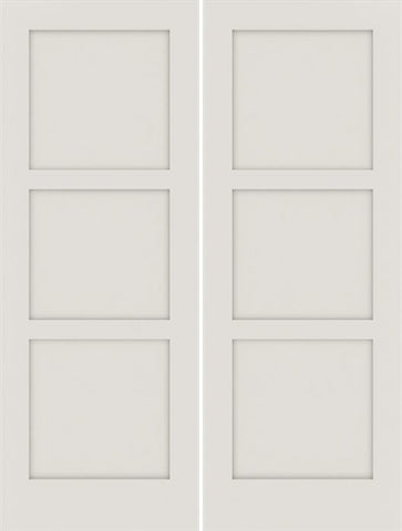 WDMA 48x80 Door (4ft by 6ft8in) Interior Swing Smooth 80in Primed 3 Panel Shaker Double Door|1-3/4in Thick 1