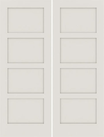 WDMA 48x80 Door (4ft by 6ft8in) Interior Swing Smooth 80in Primed 4 Panel Shaker Double Door|1-3/4in Thick 1