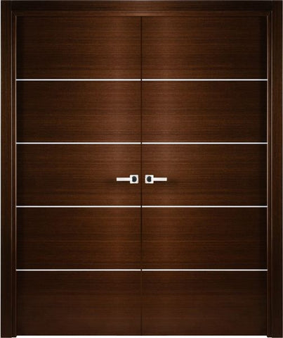 WDMA 48x80 Door (4ft by 6ft8in) Interior Pocket Wenge Contemporary Double Door with Decorative Strips 1