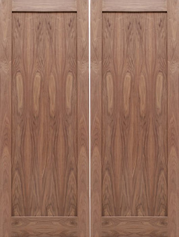 WDMA 48x80 Door (4ft by 6ft8in) Interior Barn Walnut 1-Panel Solid Shaker Style Double Door SH-13 1