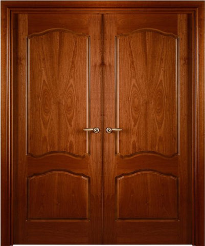 WDMA 48x80 Door (4ft by 6ft8in) Interior Swing Mahogany Sapele Prefinished Double Door African Sapele Veneer Arched 2_panel 1