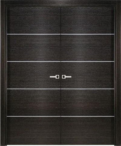 WDMA 48x80 Door (4ft by 6ft8in) Interior Swing Black Apricot Modern Double Door Italian Legna Nera Decorative Strips 1