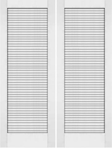 WDMA 48x80 Door (4ft by 6ft8in) Interior Barn Pine 80in Primed Plantation Louvers Double Door | 733 1