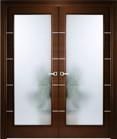 WDMA 48x80 Door (4ft by 6ft8in) Interior Swing Wenge Double Door w Frosted Glass Decorative Strips 1