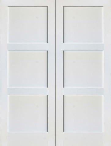 WDMA 48x80 Door (4ft by 6ft8in) Interior Barn Paint grade 3-Panel Solid Shaker Style White Double Door SH-18 1