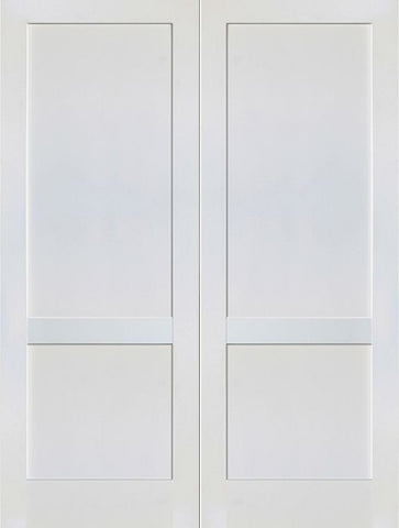 WDMA 48x80 Door (4ft by 6ft8in) Interior Swing Paint grade 2-Panel Solid Shaker Style White Double Door SH-17 1
