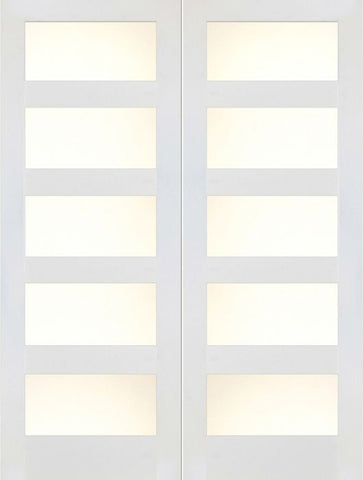 WDMA 48x80 Door (4ft by 6ft8in) Interior Swing Paint grade 4 Lite / 5 Lite Shaker White Double Door w/ Matte Glass SH-20 1