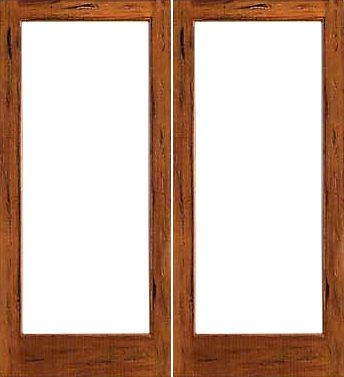 WDMA 48x80 Door (4ft by 6ft8in) French Tropical Hardwood Rustic-1-lite Solid IG Glass Double Door 1