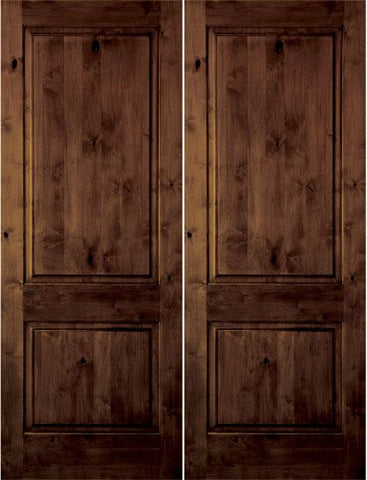 WDMA 48x80 Door (4ft by 6ft8in) Interior Swing Knotty Alder 80in 2 Panel Square Double Door 1-3/4in Thick KW-305 1
