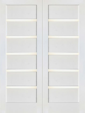 WDMA 48x80 Door (4ft by 6ft8in) Interior Swing Paint grade Slimlite Shaker White Double Door w/ Matte Glass SH-16 1