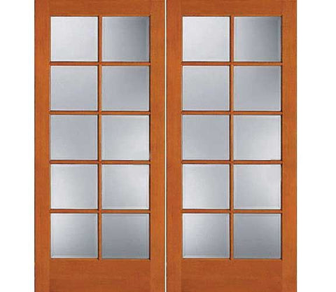 WDMA 48x80 Door (4ft by 6ft8in) French Fir 1510 10-Lite Exterior Double Door 1