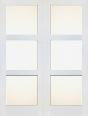 WDMA 48x80 Door (4ft by 6ft8in) Interior Barn Paint grade 3 Lite Shaker White Double Door w/ Matte Glass SH-19 1
