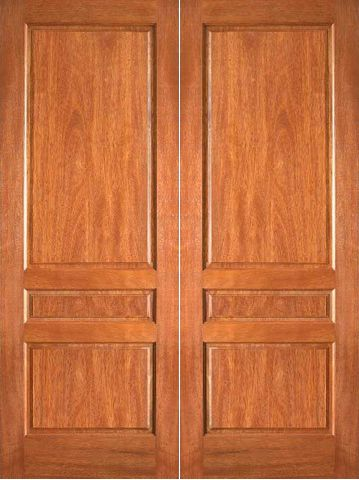 WDMA 48x80 Door (4ft by 6ft8in) Interior Barn Mahogany P-630 3 Panel Double Door 1
