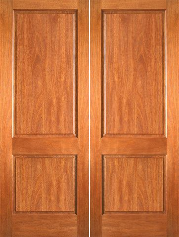 WDMA 48x80 Door (4ft by 6ft8in) Interior Barn Mahogany P-620 Wood 2 Panel Double Door 1