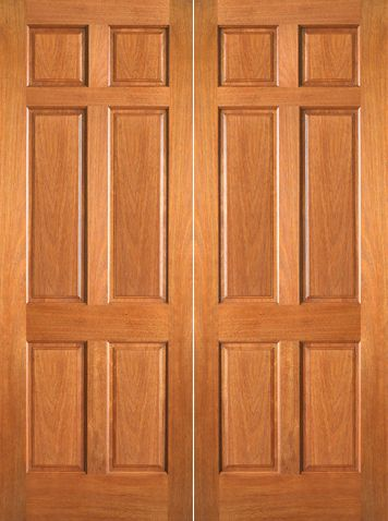 WDMA 48x80 Door (4ft by 6ft8in) Interior Barn Mahogany P-660 Wood 6 Panel Double Door 1