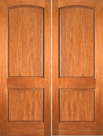 WDMA 48x80 Door (4ft by 6ft8in) Interior Swing Mahogany P-621 2 Panel Arch Top Panel Double Door 1