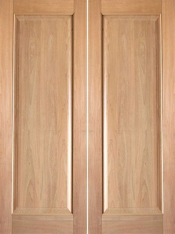 WDMA 48x80 Door (4ft by 6ft8in) Interior Barn Tropical Hardwood Rustic-6 Wood 1 Panel Double Door 1